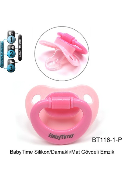 BabyTime Silikon Damaklı Mat Gövdeli Emzik 0-6 Ay - Pembe