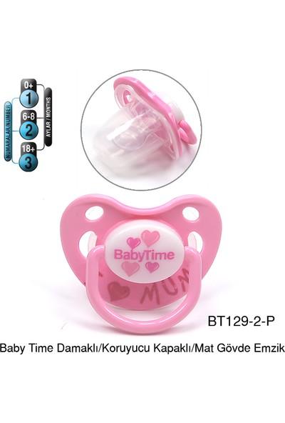 BabyTime Damaklı Koruyucu Kapaklı Mat Gövdeli Emzik 6-18 Ay - Pembe