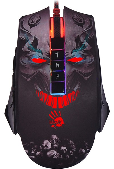 Bloody P85 Skull 5000 Cpı Rgb Animasyon 5K Optik Gamer Mouse - Metal Ayak