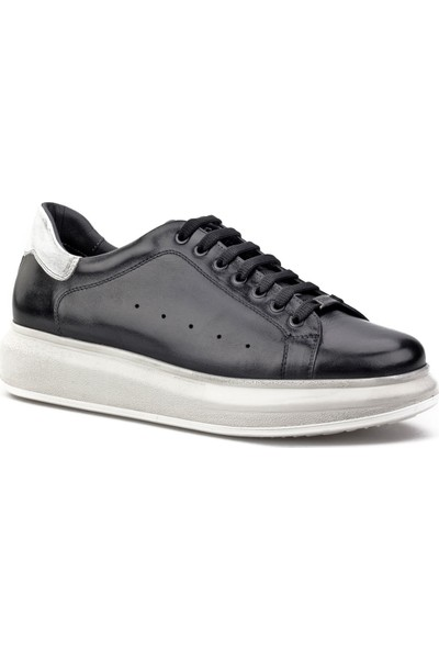 Cabani Yüksek Light Taban Sneaker Erkek Ayakkabı Siyah Analin Deri