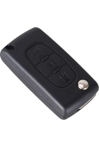 Citroen 3 Buton Sustalı Kumanda Kabı (Far Logolu, Pil Yuvasız)