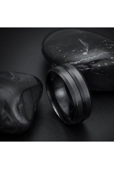 Chavin Mat Siyah İpc Kaplama Erkek Çelik Yüzük dp50
