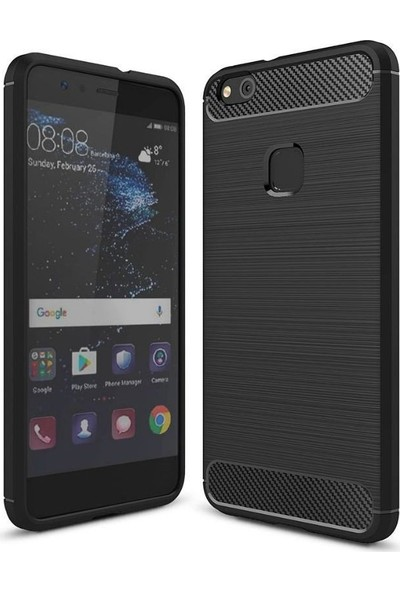 Teleplus Huawei P10 Lite Özel Karbon Ve Silikonlu Kılıf Siyah + Tam Kapatan Cam Ekran Koruyucu