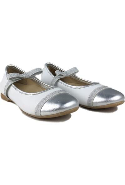 4KidSteps Kız Çocuk Ayakkabı Beyaz - Gümüş