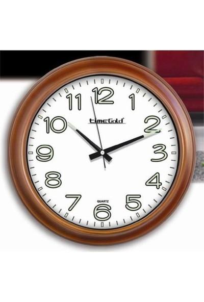 Time Gold 151 Fosforlu Brown Duvar Saati