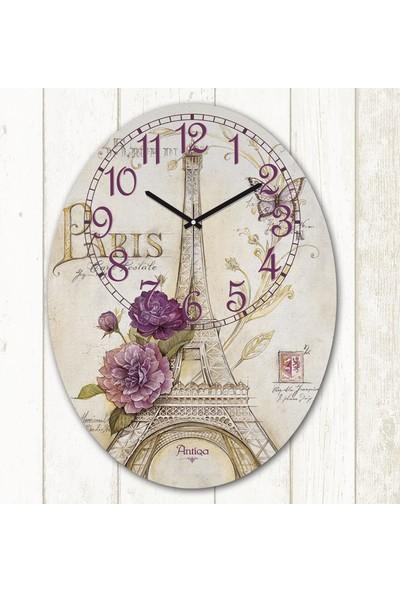 AntiQa French Style 29,5x39,5 cm Elips Dekoratif MDF Duvar Saati ASC238