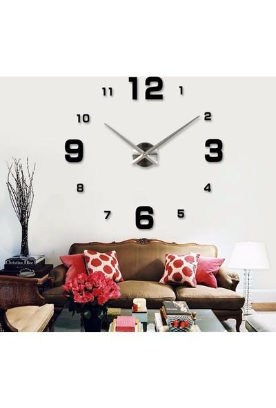 Diy Clock Büyük Boy 3D Dekoratif Duvar Saati