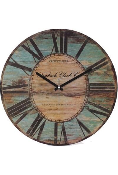 Clockmaker By Cadran Retro Vintage 30X30 Mdf Duvar Saati Cmm138