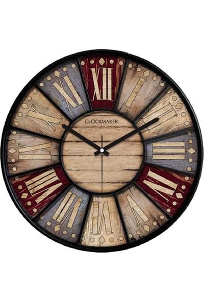 Clockmaker By Cadran Retro Vintage 30X30 Mdf Duvar Saati Cmm151