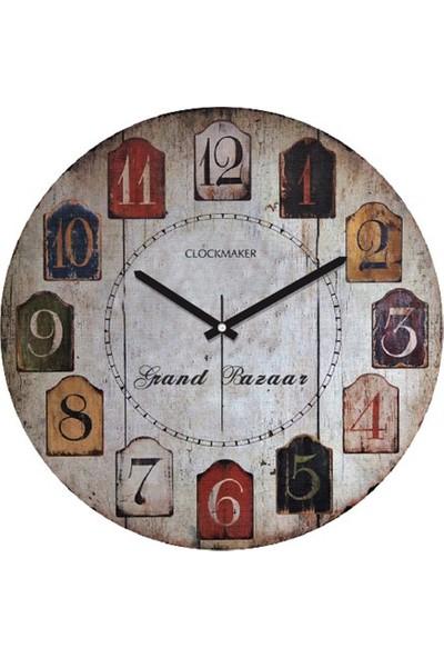 Clockmaker By Cadran Retro Vintage 30X30 Mdf Duvar Saati Cmm61