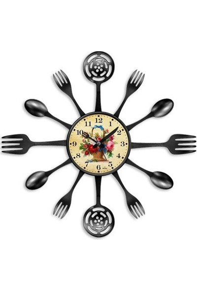Clocktime By Cadran 40X40 Çatal Kaşık Mutfak Saati Ct122