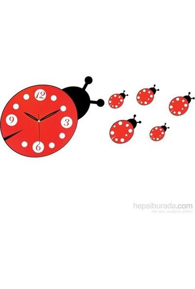 Galaxy Dekoratif Uğur Böceği Duvar Saati Kırmızı Beyaz