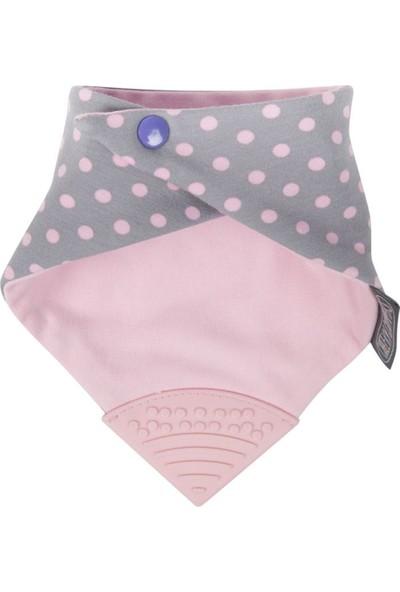Cheeky Chompers Diş Kaşıyıcılı Fular Önlük (Polka Dot Pink)