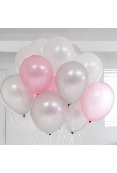 Dunyamagnet Metalik Sedefli (Pembe -Gümüş Karışık) Uçan Balon 50 Adet