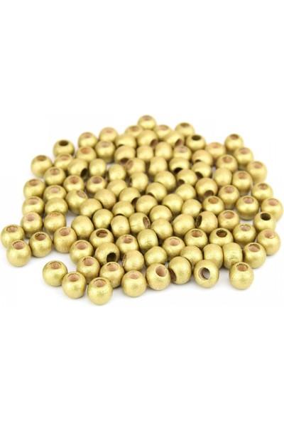 Hunga Altın Renk Ahşap Boncuk 10Mm