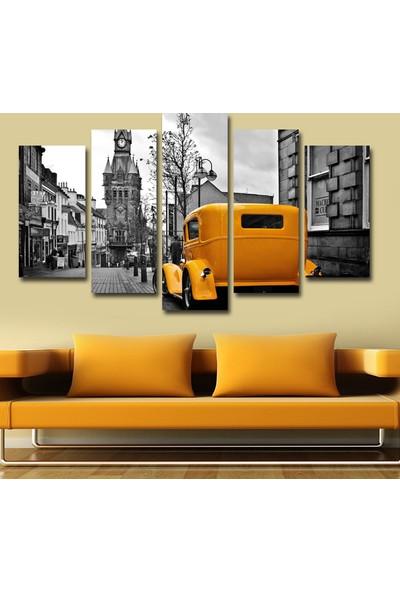 7Renk Dekor Klasik Sarı Araba Dekoratif 5 Parça Mdf Tablo