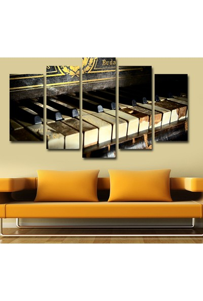 7Renk Dekor Piyano Dekoratif 5 Parça Mdf Tablo
