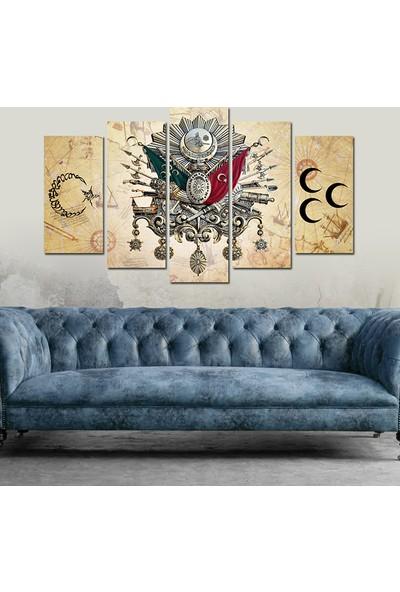 7Renk Dekor Osmanlı Arma Ayyıldız Dekoratif 5 Parça Mdf Tablo