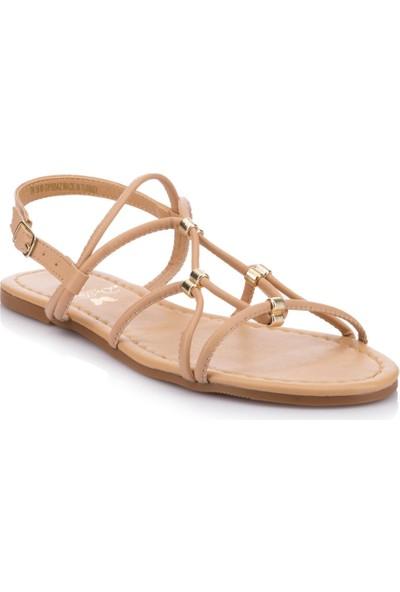DeFacto Kadın Tokalı Düz Taban Sandalet Krem Rengi