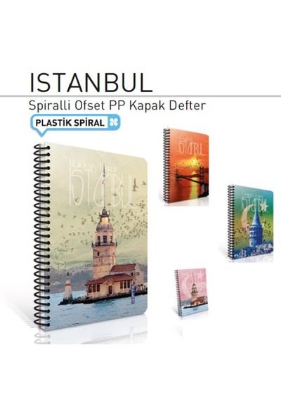 İstanbul Spiralli Kareli Baskılı Plastik Kapak A6 Defter 80 Yp