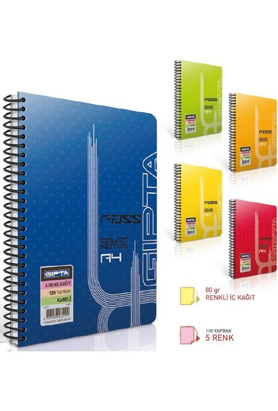 Gıpta Pass 5 Renk İç Blok A4 Plastik Kapak 100 Yaprak Çizgili Spiralli