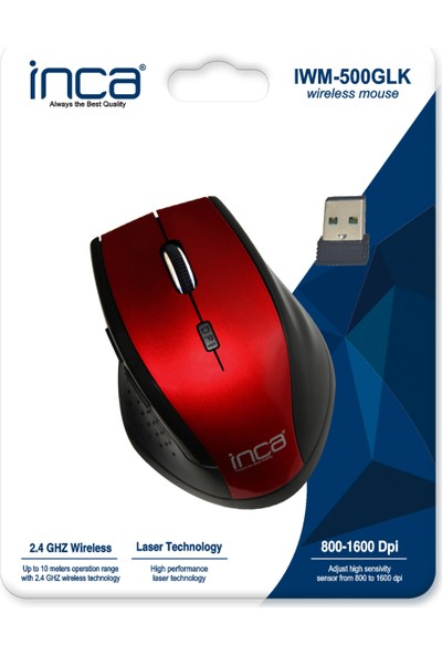 Inca IWM-500GLK Wireless Laser Mouse Kırmızı