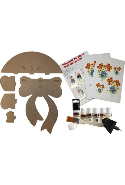 Mindcraft Ahşap Boyama Seti Dekoratif Hobi Fiyonk Raf Ev Dekorasyon 10 Parçalı Set