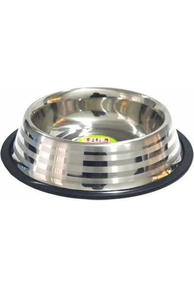 8 Oz. KE-3202S Şeritli Çelik Mama Kabı