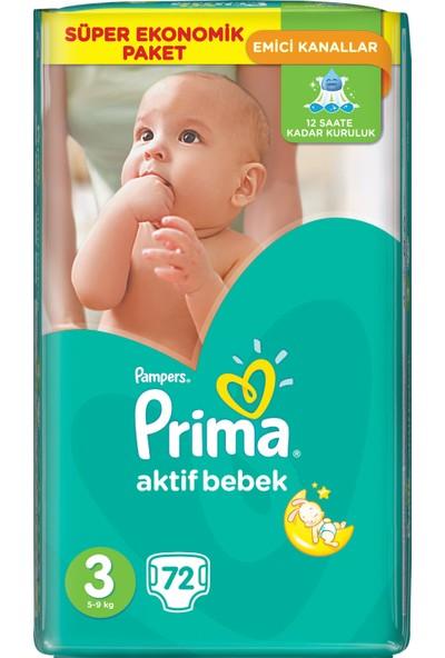 Prima Bebek Bezi Aktif Bebek Süper Ekonomik Paket 3 Beden 72 Adet