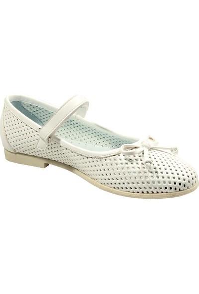 Papşin 271-200 Fiyonk Ve Atkılı Beyaz Kız Çocuk Ayakkabısı