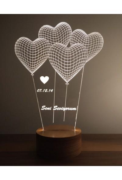 By-Lamp 3 Boyutlu Kalp Seni Seviyorum Lamba