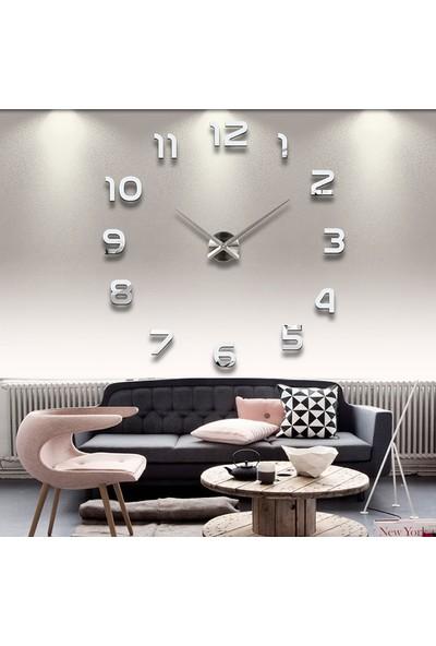 Time Modern Nesil Dıy 3D Dekoratif Büyük Boy Sticker Duvar Saati Model 1