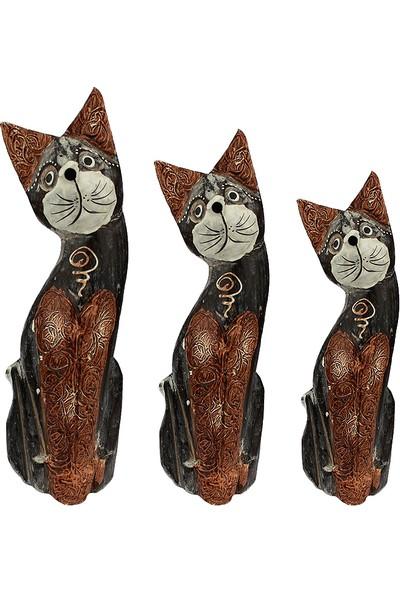 Hunga Üçlü Ahşap Kedi Biblo Kahverengi El Yapımı 30 Cm