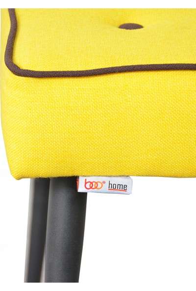 Boo Home Çok Amaçlı Dekoratif Metal Ayaklı Puf Sarı