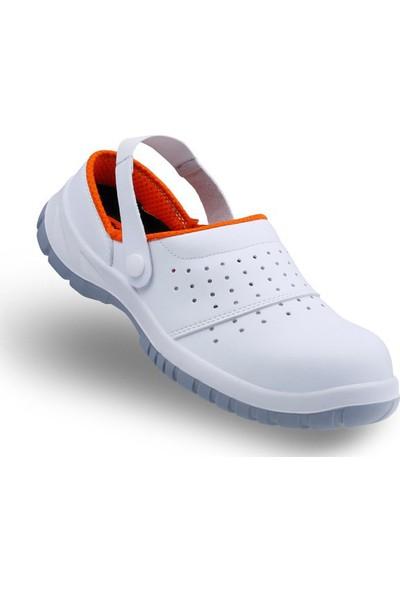 Mekap Slipper 210 01 Beyaz Çelik Burunlu Sabo Sandalet