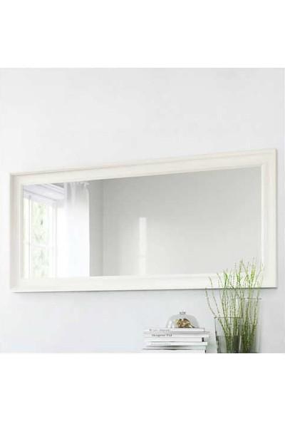 Evcazım Salon Boy Aynası Düz Çerçeve Beyaz
