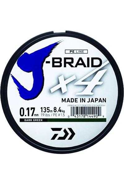Daiwa J-Braid 4 Kat 135Mt Koyu Yeşil Örgü İp Misina # 0,25 Mm