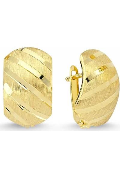 Sembolgold Altın J Küpe Taşsız Yatay Çizgili Model