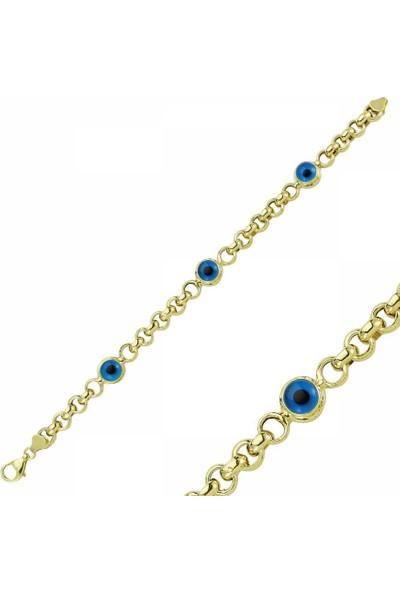 Sembolgold 14 Ayar Altın Nazar Boncuklu Doç Bileklik Sg42-57515