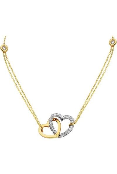 Sembolgold Altın Kolye Çift Zincir Kalpli