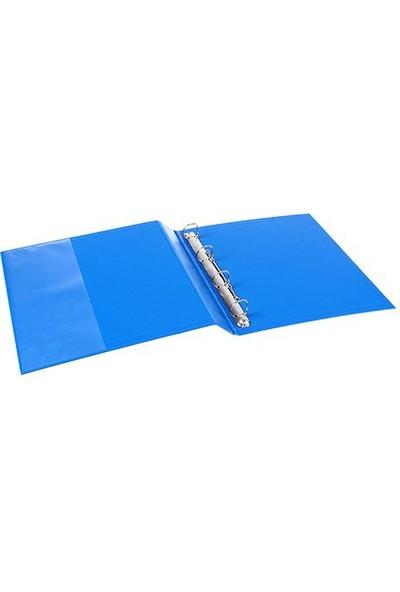 Esselte 4 Halkalı Klasör İç Cepli A4 Renk - Mavi