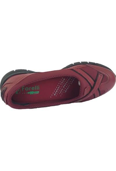 Forelli 29401 Kadın Bordo Deri Streç Ayakkabı
