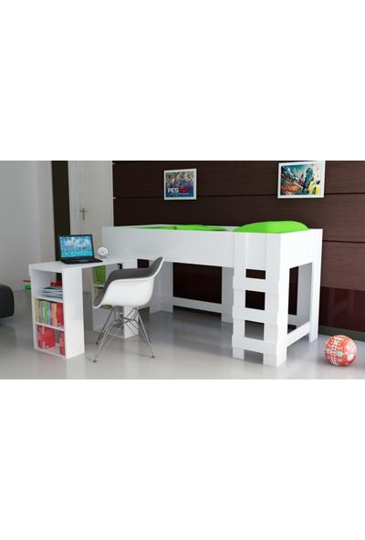 EvModüler Mare Çocuk OdasıTekli Ranza + Masa 008-01 Beyaz