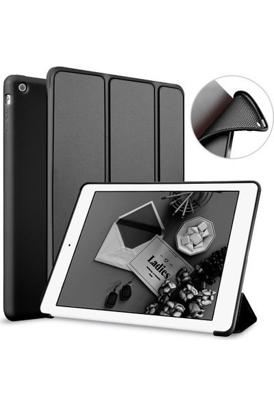 Elx Apple iPad Air 2 Smart Tablet Kılıfı + 9H Nano 330 Derece Bükülebilen Ekran Koruyucu + Kalem