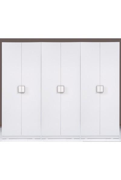 Kenyap Plus 812515 Stella 6 Kapaklı 3 Çekmeceli Gardırop-- Parlak Beyaz