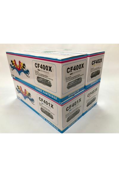 GörkemBüro Hp Cf201A/Cf400A Toner Takım (Siyah 2800/Renkli 2300 Sayfa)