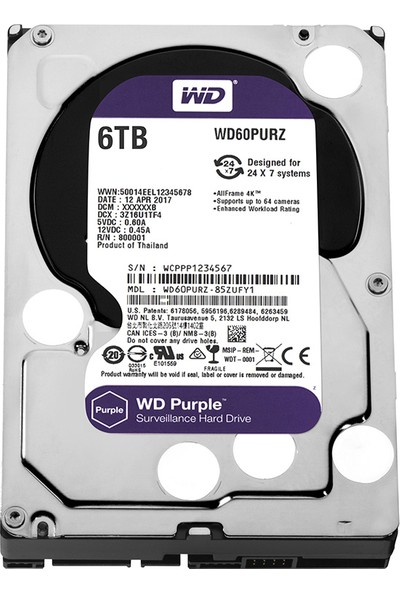 """WD Purple 6TB 3,5"""" SATA III 6Gbit/s64MB 7/24 Güvenlik Kamerası Diski WD60PURZ"""