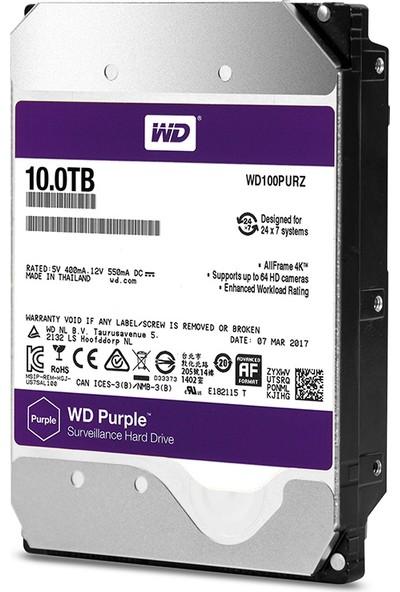 """WD Purple 10TB 3,5"""" SATA III 6Gbit/s 256MB 7/24 Güvenlik Kamerası Diski WD100PURZ"""