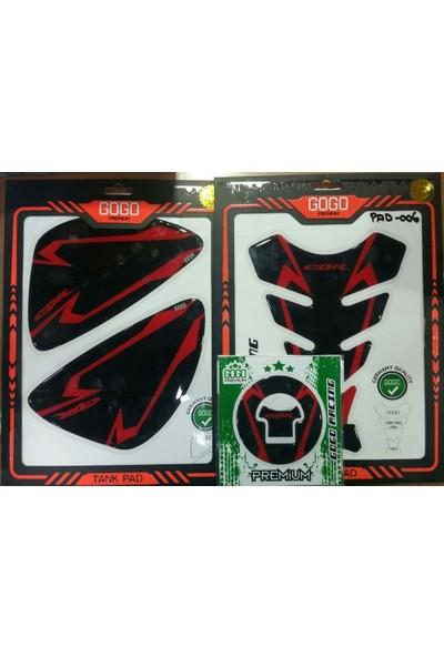 Motospartan Tank Pad Yan Pad + Depo Kapak Stikeri Pad Honda Cbr 125R Cbr 250R Cbr 500R Cbr Pad-006