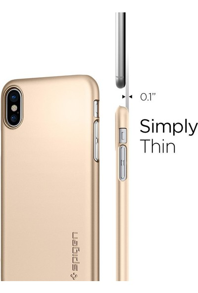 Spigen Apple iPhone XS / iPhone X Kılıf Thin Fit Ultra İnce Champagne Gold - 057CS22111